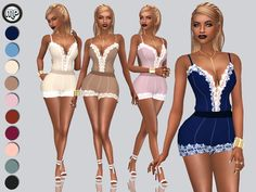 MP Lace Detailed Romper at BTB Sims – MartyP via Sims 4 Updates