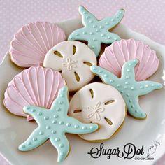 Sea shell, sand dollar & starfish cookies