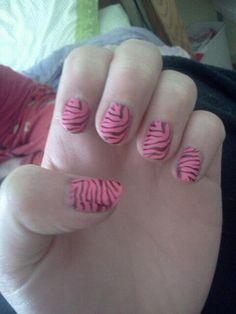 Pink Zebra Print - Konad nail art.