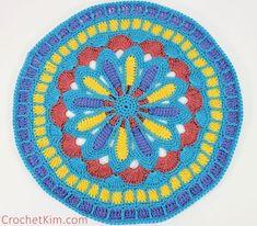 CrochetKim Free Crochet Pattern   Turquoise Mandala Part 1 @crochetkim