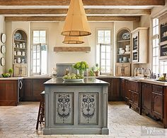 To Make The Island Stand Out Even More The Homeowner Commissioned A Hand Painted French Country Kitchenscountry