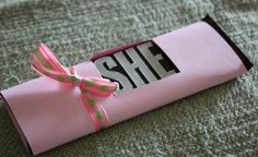 """Hershey bar that you can cover up with blue paper to say """"he"""" for a boy or """"she"""" for a girl."""