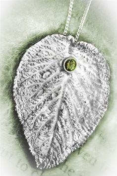 silver clay leaf with gemstone
