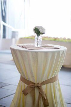 Cocktail tables tied with burlap Victoria Souza Photography Diy Wedding, Wedding Flowers, Wedding Venues, Top Table Ideas, Pub Table Sets, Bar Tables, High Top Tables, Pub Set, Grad Parties