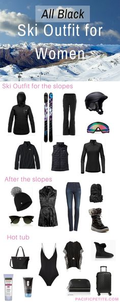 Having trouble finding a ski outfit! If you love black, check out this pin full of Ski jacket, ski pants, skis, helmet, goggles, ugg boots etc.