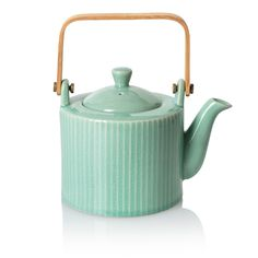 Buy the Ocha Teapot at Oliver Bonas. Enjoy free UK standard delivery for orders over Green Cushions, Oliver Bonas, Egg Holder, Birthday Wishlist, Wooden Handles, Deco, Kettle, Mint Green, Color Mixing