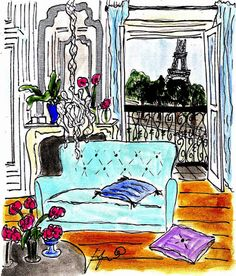 Blue Sofa Paris Apartment by Fifi Flowers