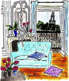 Blue Sofa Paris Apartment by Fifi Flowers