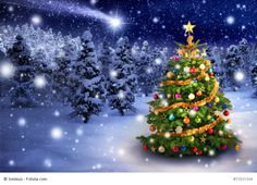 Photo about Magnificent colorful Christmas tree outdoor in a snowy night with a shooting star in the sky, for the perfect Christmas mood. Image of comet, purity, coniferous - 46561707 Photo Christmas Tree, Colorful Christmas Tree, Christmas Mood, Christmas 2015, Merry Christmas Everyone, Star Sky, Frost, Snowflakes, Wallpaper