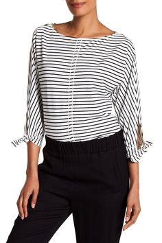 Striped Tie Sleeve French Terry Tunic