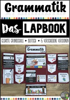 Grammatik – Das Lapbook – Deutsch – Grundschule This GRAMMATIC LAPBOOK contains the most important grammar content of the entire Montessori Education, Primary Education, Elementary Schools, English Primary School, Lap Book Templates, Spelling Rules, German Language Learning, School Of Rock, French Lessons