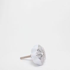 Image 1 du produit Bouton meuble forme fleur motif argent (lot de 2)
