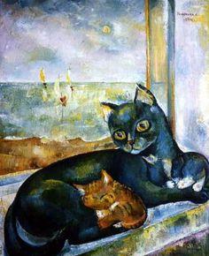 Cat in the window painting. Lyudmila Shahardina - Blues of green cat