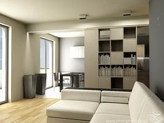 50m2 – MAŁE MIESZKANIE – Chełmońskiego – Kraków | Mango Studio Projektowanie Wnętrz Krakow, Shelving, Mango, Divider, Flat, Room, Furniture, Home Decor, Shelves