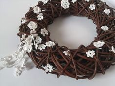 Spring Easter wreath with white crocheted flowers by feltancrochet, $40.00