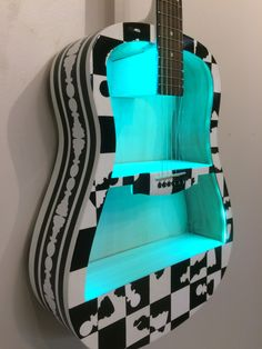 Guitar Shelf # 64. Recycled hand painted acoustic guitar with custom shelves and LED lighting. by aRRtstudios on Etsy