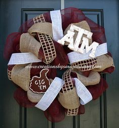 Mesh Texas A Wreath - Mesh Aggie Wreath with Gig 'Em and Burlap - Gig 'Em Wreath on Etsy, $85.00