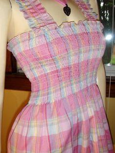70s Flirty Lolita Pink Plaid Smocked Pinafore Sundress  ~GET IT NOW~ At KoolcatVintage