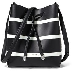 Lauren Ralph Lauren Women's Striped Mini Drawstring Bag (450 RON) ❤ liked on Polyvore featuring bags, handbags, black white, black and white striped handbag, black and white striped purse, black and white handbags, drawstring bags and leather purses