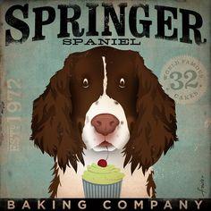 Springer Spaniel Cupcake Company original artwork graphic on canvas 12 x 12 by gemini studio