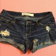 Abercrombie shorts Medium/dark wash Abercrombie and Fitch Jean shorts with some rips Abercrombie & Fitch Shorts Jean Shorts