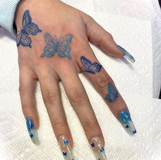 its the hand tattoo for me. Mini Tattoos, Dainty Tattoos, Dream Tattoos, Body Art Tattoos, Tatoos, Blue Ink Tattoos, Tattoo Drawings, Butterfly Hand Tattoo, Butterfly Tattoo Designs