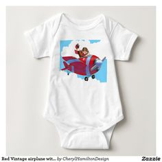 Red Vintage airplane with flyer bodysuit for baby