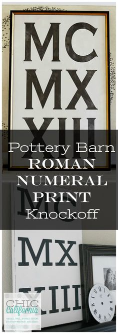 Pottery Barn Roman Numeral Art Knockoff – Hobbies paining body for kids and adult Diy Craft Projects, Craft Tutorials, Crafts, Craft Ideas, Diy Ideas, Decorating Ideas, Decor Ideas, Pottery Barn Hacks, Black Chalkboard Paint