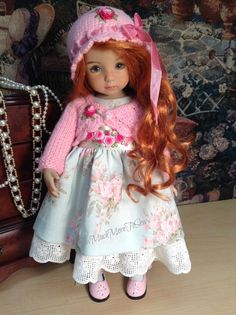 Effner Little Darling Doll ' mint and roses' by SewMuchMoreToSew