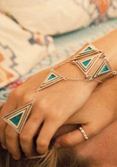 Pamela Love - Bronze and chrysoprase pyramid hand piece Leather Jewelry, Jewelry Box, Jewelery, Jewelry Accessories, Women Jewelry, Hand Bracelet, Hand Chain, Body Jewellery, Hippie Chic
