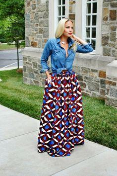 Fashion pagne modele jupe pagne tenue chemise jean et jupe longue pagne