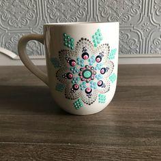 Classic Black and White Spring Coffee Cup Ceramic Mug Painted Coffee Mugs, Hand Painted Mugs, White Coffee Mugs, Coffee Cup, Tea Cup, Mandala Dots, Mandala Pattern, Dot Art Painting, Ceramic Painting