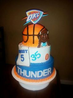 OKC Thunder Birthday Cake Cakes Pinterest Birthday cakes