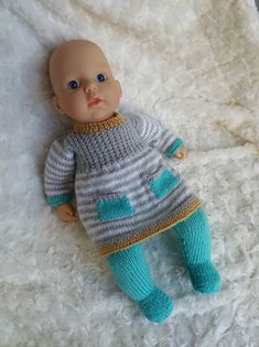 Ravelry: Annabell Dress and tights pattern by linda Mary Knitting Dolls Clothes, Baby Doll Clothes, Knitted Dolls, Doll Clothes Patterns, Baby Dolls, Knitted Baby, Dress Patterns, Girls Knitted Dress, Knit Baby Dress