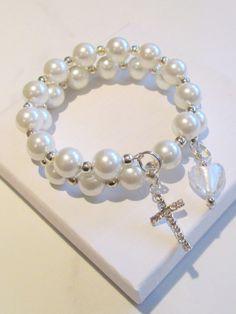 First Communion Charm Bracelet White Glass by AwfyBrawJewellery