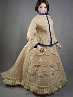 "Antique Gauze 2pc Promenade Suit Dress for 18"" French Fashion Lady Doll No.266 made by Carol H. Straus, 2015. carolstraus.com #silkandtrim SOLD"