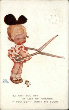 Child Scissors Thimble String Friend Greeting A s Mabel Lucie Atwell c1910 PC | eBay