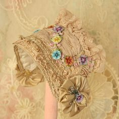 Exquisite Vintage Edwardian Small Doll Hat Antique Ribbon Work,Lace