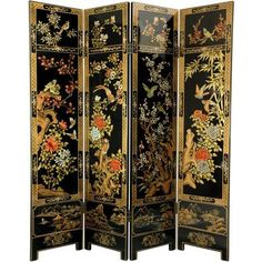 6' Tall Four Seasons Flowers Screen, Black