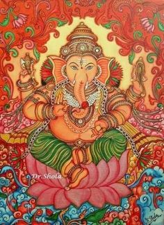 Lord Ganesha Paintings, Ganesha Art, Krishna Art, Shri Ganesh, Kerala Mural Painting, Madhubani Painting, Kalamkari Painting, Mural Wall Art, Canvas Wall Art