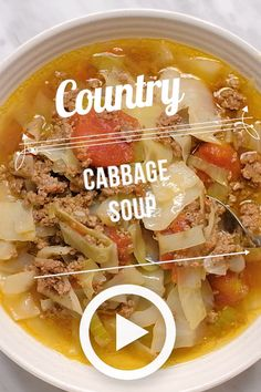Nov 2019 - Country Cabbage Soup is a wonderfully healthy way to enjoy cabbage. Lean ground beef is combined with cabbage, stewed tomatoes, onion and celery plus seasonings to make a filling low carb meal that is low in fat and calories. Low Calorie Dinners, No Calorie Foods, Low Calorie Recipes, Meals Low In Calories, Diet Foods, Low Calorie Dinner For Two, Low Calorie Soups, Filling Low Calorie Meals, Low Fat Soups