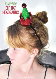 Homemade Elf Hat Headband craft - super easy and fun to make with kids for the holidays holiday hats Christmas Elf Costume, Christmas Hair, Kids Christmas, Christmas Crafts, Christmas Headbands, Holiday Hats, Holiday Fun, Diy Elf Costume, Elf Hut