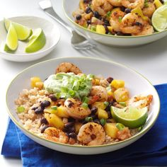 Caribbean Shrimp & Rice Bowl Recipe -I had something similar on vacation and recreated this lighter version at home. It takes me back to the islands every time I make it. Try grilling your shrimp for more beachy flavor. Fish Recipes, Seafood Recipes, New Recipes, Dinner Recipes, Cooking Recipes, Healthy Recipes, Dinner Ideas, Healthy Dinners, Online Recipes