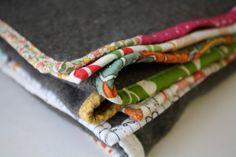 blanket makeover with scrap/patchwork binding