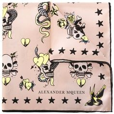 Alexander McQueen tattoo skull scarf (2,815 MXN) ❤ liked on Polyvore featuring accessories, scarves, alexander mcqueen, silk scarves, silk shawl, alexander mcqueen scarves and skull scarves