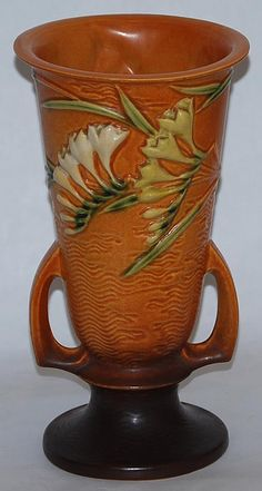 Roseville Pottery Freesia Brown Vase 125-10 from Just Art Pottery