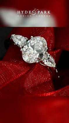 Custom Made Engagement Rings, Trilogy Engagement Ring, Oval Engagement, Three Stone Engagement Rings, Designer Engagement Rings, Diamond Engagement Rings, Pear Shaped Diamond, Oval Diamond, Diamond Rings