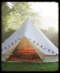 Pretty Honeymoon Bell Tent for an Outdoor wedding with camping at The Keeper and the Dell.