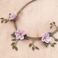 Turkish OYA Lace - Silk Necklace - Plumeria - Light Pink