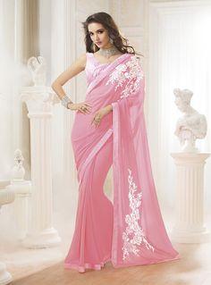 Light Pink Georgette Party Wear Saree 80450